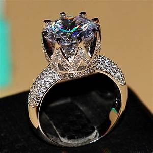 Fashion jewelry 8ct solitaire luxury 925 silver big white for Huge wedding rings for women