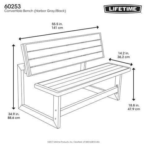 lifetime  gray convertible bench  table