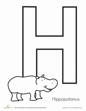 h is for hippopotamus worksheet education 744 | hippopotamus letter h animals preschool