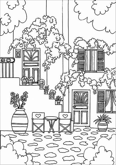 Coloring Pages Adults Architecture Greek Flowers Adult