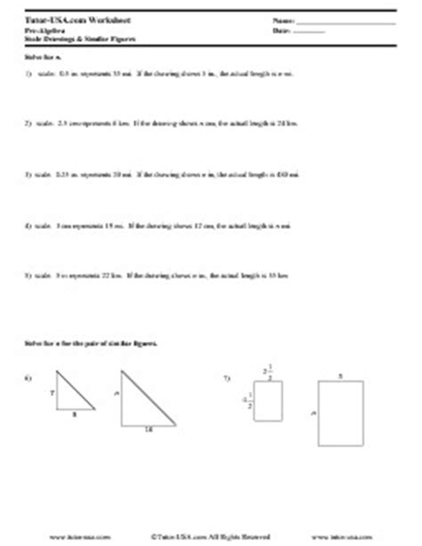 Worksheet Ratios, Similar Figures, Scale Drawings  Prealgebra Printable