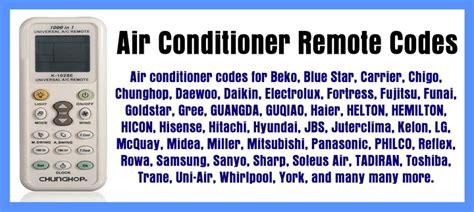Air Conditioner Remote Codes