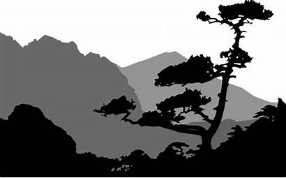Silhouette Mountain Mountains Landscape Nature Tree Clipart