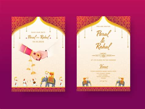Premium Vector Indian wedding invitation card template