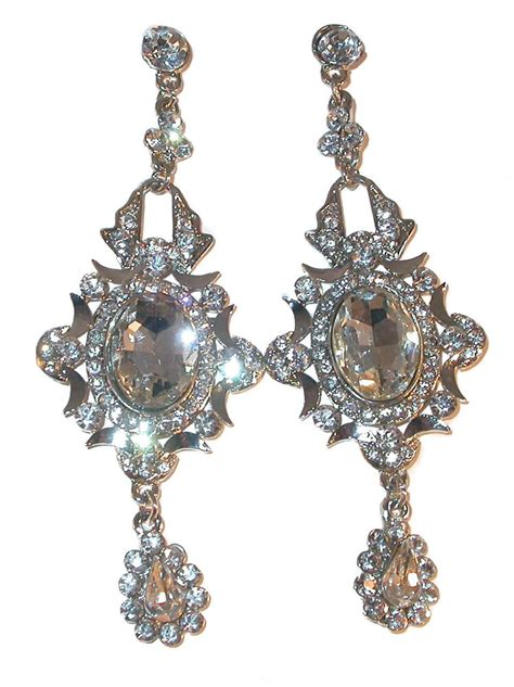 Sparkly Chandelier Earrings by Rhinestone Silver 3 75 Quot Chandelier Earrings Clear