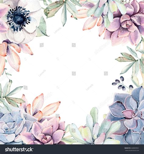 watercolor succulents frame perfect card invitation stock