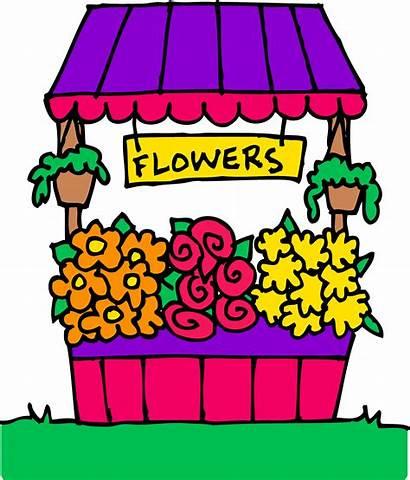 Clip Flower Clipart Stand Cliparts Florist Cartoon