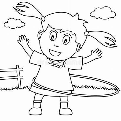 Hoop Hula Coloring Park Playing Illustration