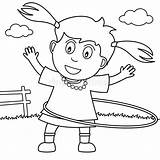 Hula Hoop Coloring Playing Park Illustration sketch template