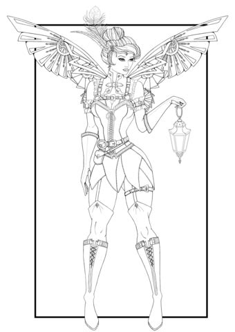 steampunk tinkerbell coloring page  printable coloring pages