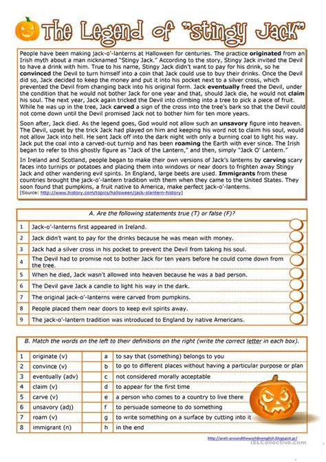 Reading Comprehension For Upper Intermediate Esl Students  Halloween History Of The Jack O