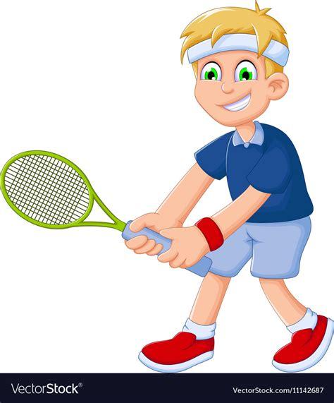 funny boy cartoon playing tennis royalty  vector image