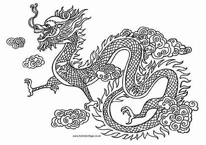 Dragon Chinese Clipart Coloring Pages Clip Drawings