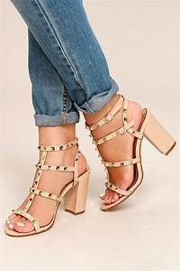 Camila Nude Patent Studded Ankle Strap Heels Mod and