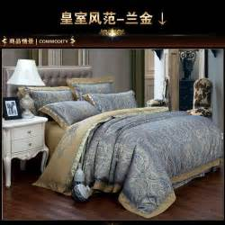 aliexpress com buy luxury blue paisley gold satin jacquard bedding comforter sets king queen