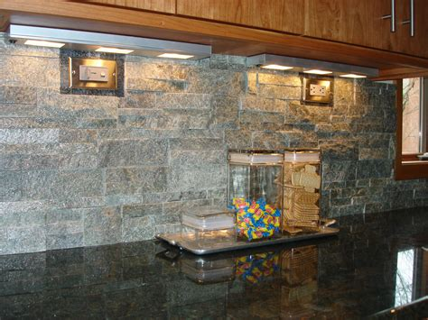 stacked stone backsplash   nice contrast  granite