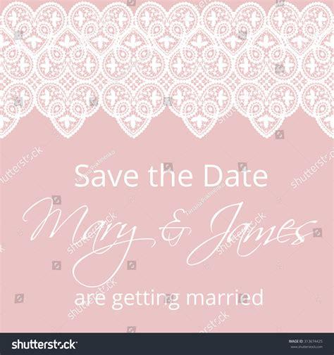 wedding invitation template lace border pink stock vector