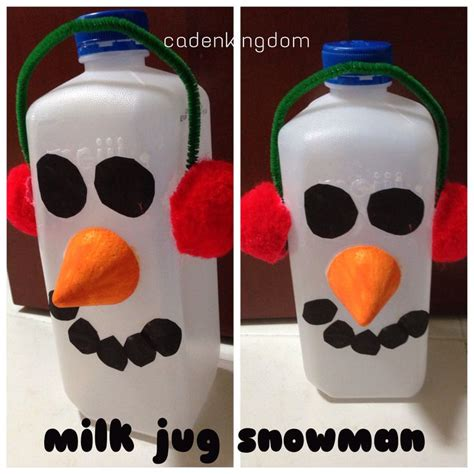 christmas crafts with milk jugs crafts milk jug snowman easy for preschoolers recycled milk jug styrofoam cone