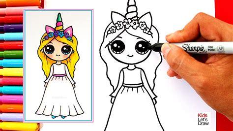como dibujar una chica unicornio kawaii rubia  de vestido