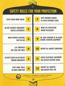 Vintage Safety Poster Safety Rules For Your Protection