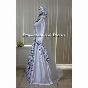 pagan medeival renaissance white wedding hooded dress With hooded wedding dress