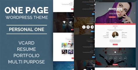 wordpress personal  onepage vcard wordpress