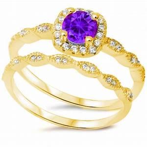 Vintage wedding engagement ring round purple amethyst for Amethyst diamond wedding ring set