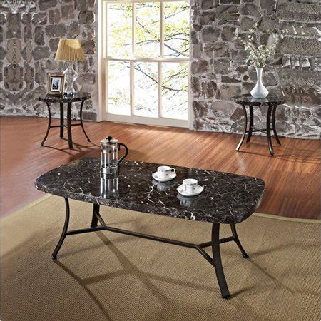 daisy faux marble  piece coffee   table set black