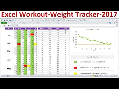 excel exercise planner workout calendar  weight