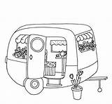 Trailer Colouring Caravan Camping Camper Campers Line Travel Drawings Adults Trailers Caravans Embroidery sketch template