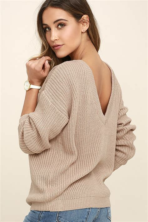 taupe sweater taupe sweater knit top oversized sweater backless