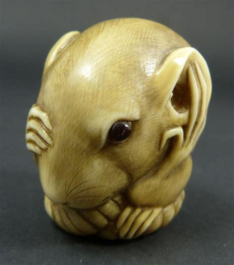 Senko my neighbor totoro cat bus stop accent mat 47 100cm brown yellow 78756. Netsuke rat with inlaid eye antique hand carved japanese ...