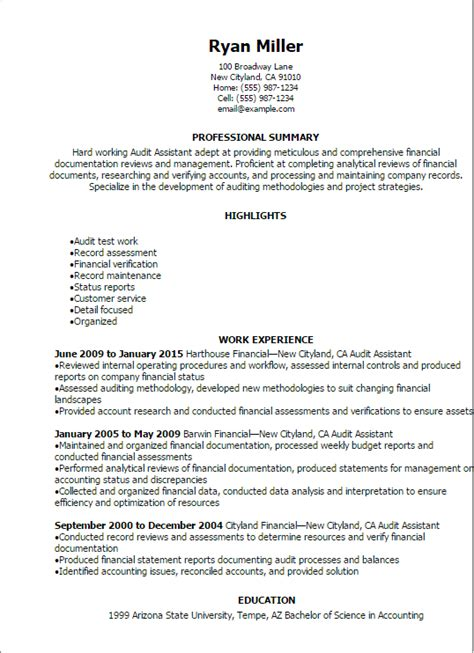 Professional Resume Format Exles by Resume Templates Audit Assistant Resume Excel Resume