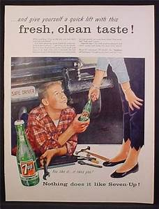 Magazine Ad For 7UP Seven-UP, Teen Working On His Car ...