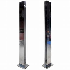 pair of mid century chrome torchiere skyscraper floor With casella torchiere floor lamp