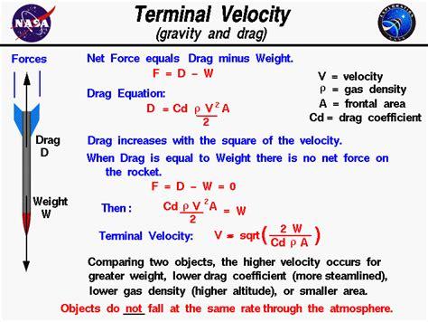 terminal velocity gravity  drag