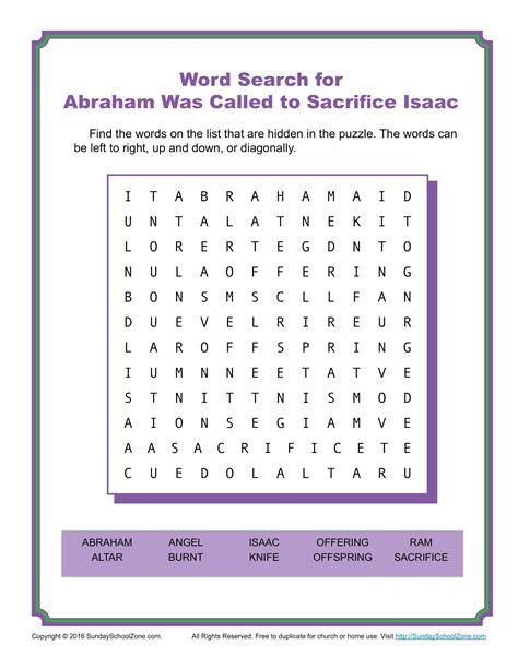 abraham  called  sacrifice isaac word search