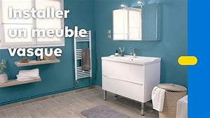 Meuble Salle De Bain A Poser : comment poser un meuble vasque dans une salle de bains castorama youtube ~ Teatrodelosmanantiales.com Idées de Décoration