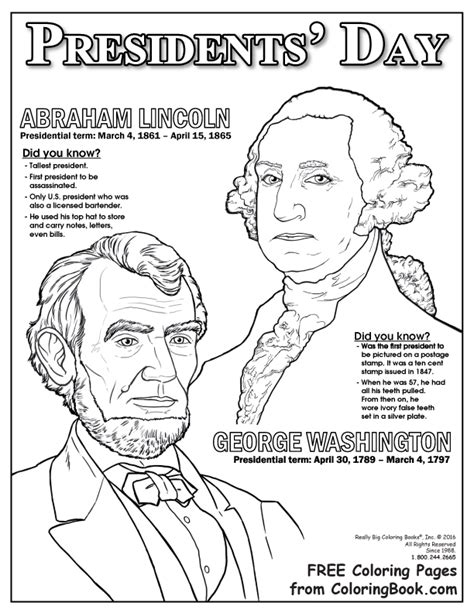 Presidents Coloring Pages by Coloring Books Presidents Day Free Coloring Page