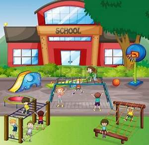 Place clipart school playground - Pencil and in color ...