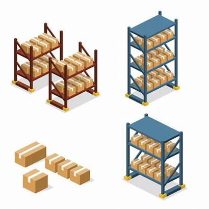Warehouse Vector Storage 3d Cold Shelves Clip