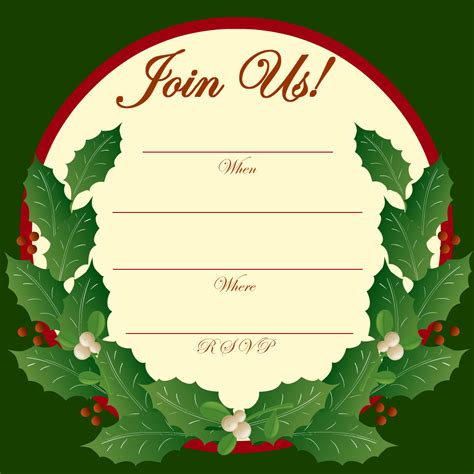 printable christmas invitations free printable party invitations holly and mistletoe