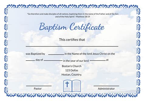 editable baptism certificate template  adobe photoshop