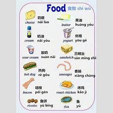 Food Vocabulary In Chinese  Learn Daily Chinese Mandarin Online  Pinterest Studentcentered
