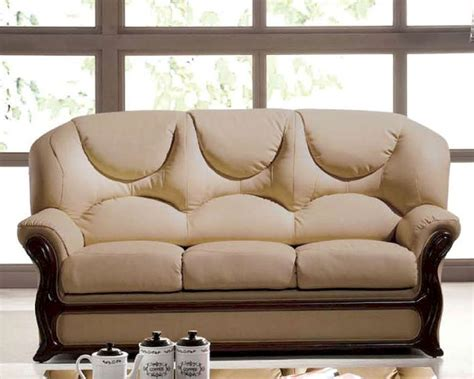 italian leather sofa bed european design  beige finish