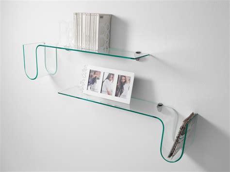 mensola trasparente mensola a parete albert in vetro curvato trasparente 90 cm
