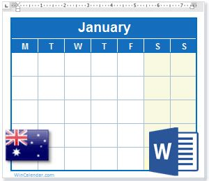 calendar australia holidays ms word