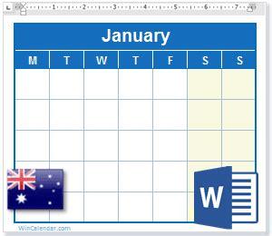 calendar  australia holidays ms word