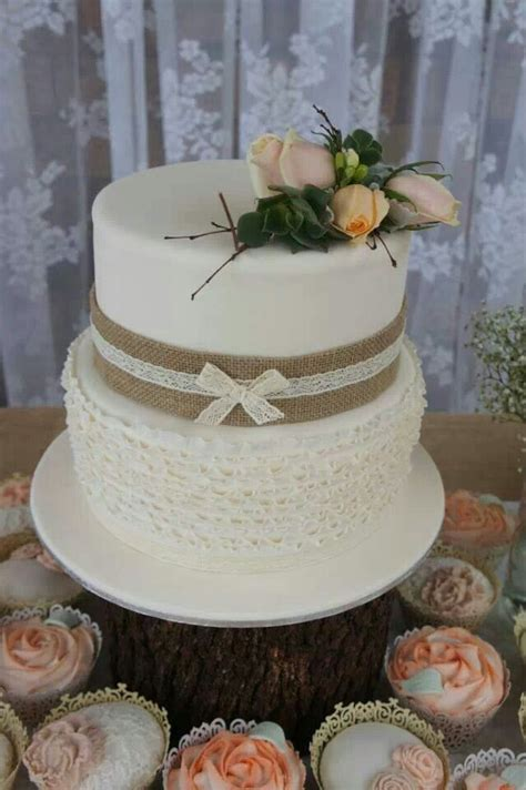 Two Tier Rustic Bridal Shower Cake With Ruffles Layers