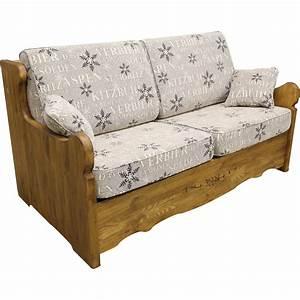 Canape yret convertible en bois patine bed express for Canapé lit en bois